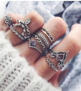 欧美紫钻宝石戒指套装 镂空麻花手掌皇冠关节组合10件