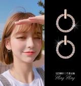s925韩国个性简约百搭耳环防过敏圆圈精致迷你小耳坠女