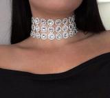 欧美短款项链多层凹面钻水晶颈链