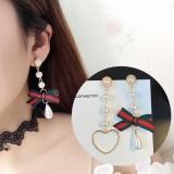 韩国大牌范红绿织带不对称流苏耳环