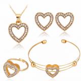 欧美四件套心形型项链耳环戒指手链套装