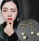 韩国复古珍珠长款耳环耳钉
