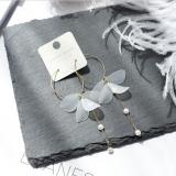 韩国亚克力透明花瓣珍珠圆圈耳环