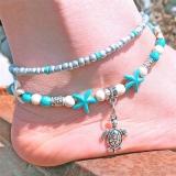 欧美沙滩脚链双层海龟乌龟吊坠脚链