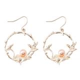 韩国冷淡风花朵天然淡水珍珠耳环