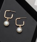 韩国简约方形大珍珠耳钉