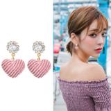 韩国甜美时尚镶钻人造水晶可爱粉色爱心形耳钉