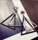 韩国三角锆石长款耳环