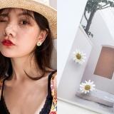 韩国简约白色雏菊花朵花瓣耳钉