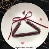 韩国手作无扣设计蕾丝系带蝴蝶结颈链