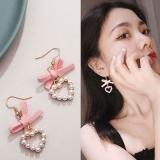 韩国百搭粉色布条蝴蝶结珍珠爱心耳环