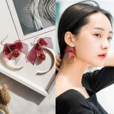 韩国长款红色蕾丝蝴蝶结流苏耳环