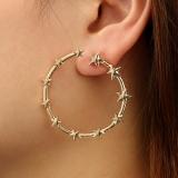 欧美时尚星形大小五角星金属立体耳钉