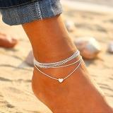 欧美沙滩爱心多层脚链