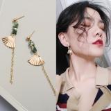 韩国简约民族风复古金色扇形耳环