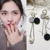 韩国简约圆片珍珠一字棍不对称流苏耳环