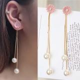 韩国长款珍珠甜美花朵流苏耳环