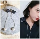 韩国气质黑色天鹅珍珠后挂长款流苏耳环