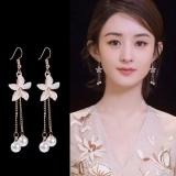 韩国百搭链条珍珠水晶花朵耳环