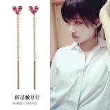 S925韩国简约小红爱心链条气质耳环
