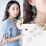 S925韩国不对称气质链条爱心耳环