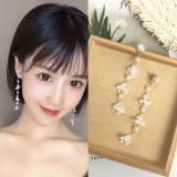 韩国蕾丝花朵超仙清新珍珠水晶长款耳钉