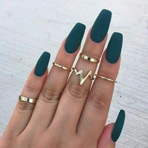 欧美新款饰品 时尚闪电心电图戒指套装 合金光面戒指5件套