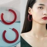 韩国简约透明果冻圆环耳环