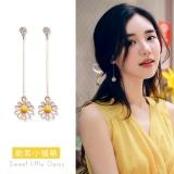 S925韩国小雏菊花朵甜美小清新长款耳钉