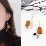 韩国趣味创意木头松果个性夸张不对称耳环