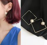 韩国创意不规则几何简约方形珍珠耳环