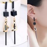 韩国个性几何方块椭圆黑色宝石长款耳钉