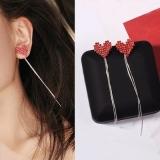 韩国气质红色爱心时尚长款流苏耳环