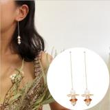 韩国长款简约个性几何手工气质流苏珍珠耳钉