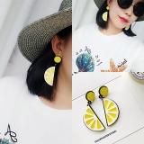 韩国夸张黄个性网红潮人柠檬水果耳钉