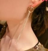 韩国个性气质多层链条流苏几何圆圈镶钻长款耳钉