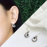 韩国蓝色人造水晶星星月亮女简约小耳钉