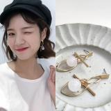 韩国圆形珠子几何金属百搭耳钉