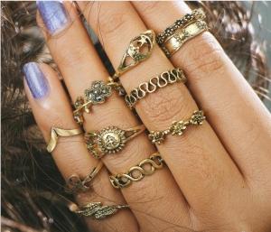 欧美速卖通花朵镶钻叶子11件套戒指镂空月亮套装尾戒