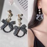 韩国格子布圆圈珍珠长款耳钉