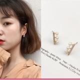韩国超仙气质创意一排锆石三颗小珍珠耳钉