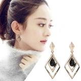 韩国简约几何形个性菱形黑色水晶耳钉