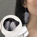 韩国白色羽毛超仙气质流苏长款耳钉