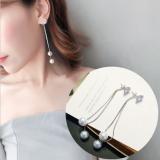 S925银针韩国气质长款珍珠链条夸张耳钉