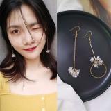 韩国气质永生花珍珠不对称圆圈耳环