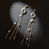 韩国气质水晶珍珠流苏长款耳钉