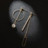 韩国百搭圆圈棒棒珍珠流苏链条不对称耳钉