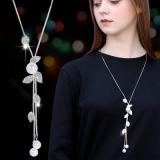 欧美时尚大气树叶节高升珍珠流苏长款百搭毛衣链项链