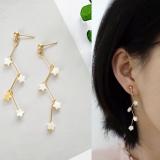 韩国贝壳星星交叉曲线折射线耳钉