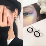 韩国个性黑色麻花圆圈气质小耳钉